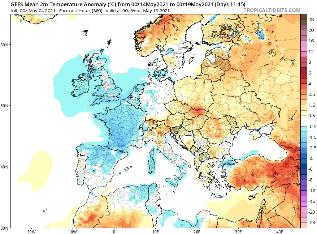 Pogoda. Anomalia temperatury na okres od 14.05.2021 do 19.05.2021