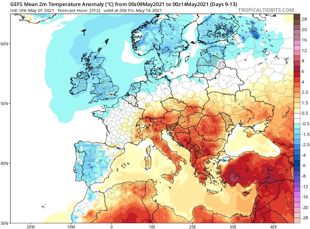 Pogoda w maju na okres od 9.05.2021 do 14.05.2021.