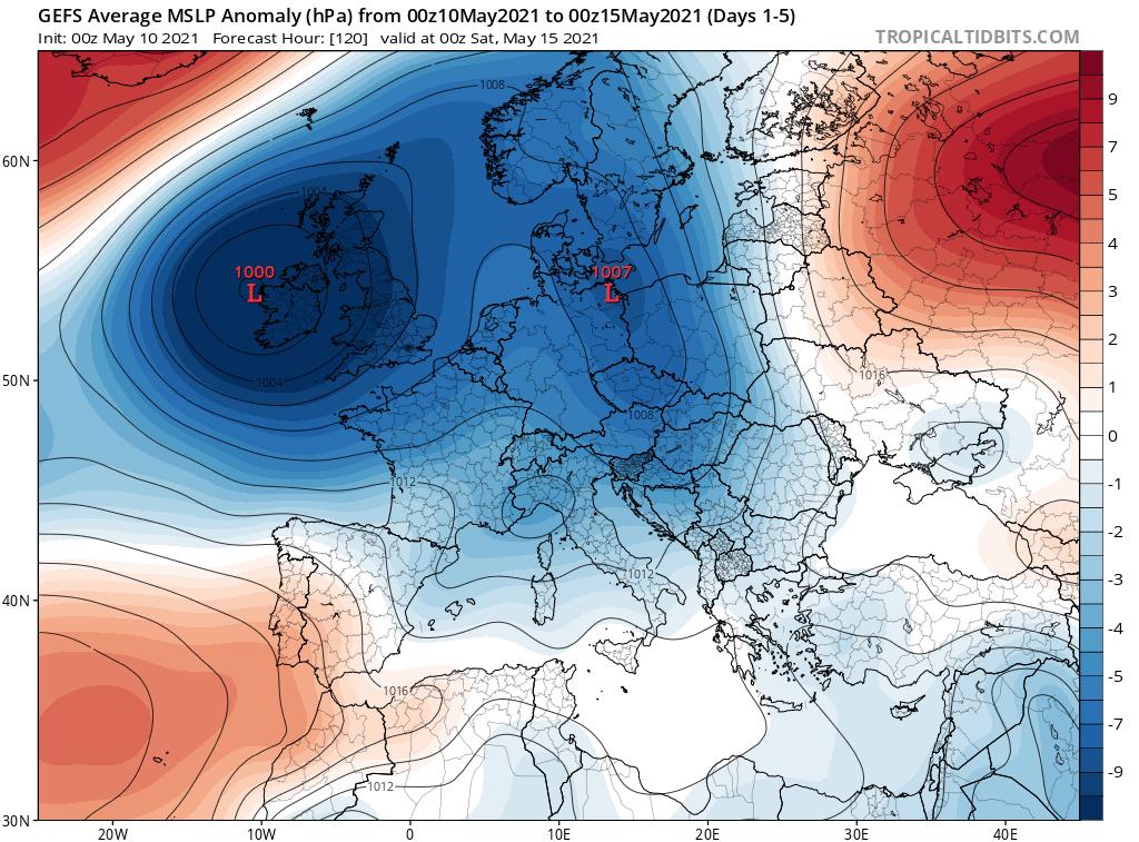 Pogoda. Anomalia do 15 maja ciśnienie