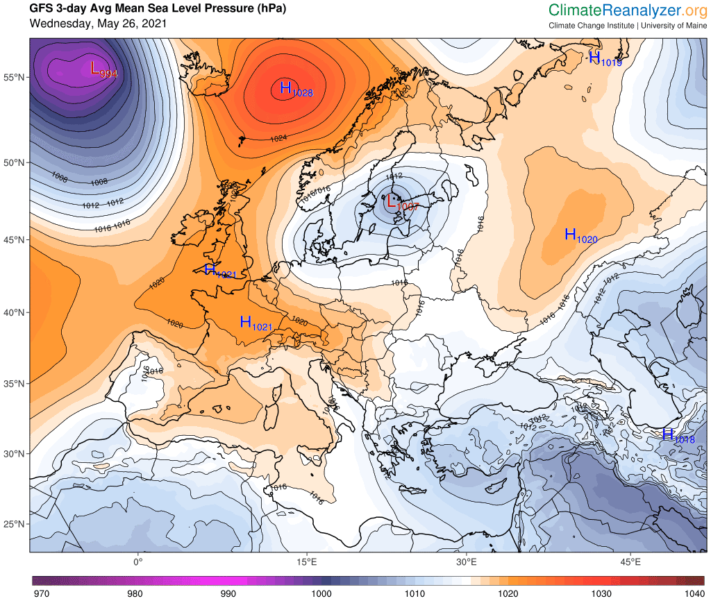 Pogoda. Średnia anomalia ciśnienia do 29 maja 2021.