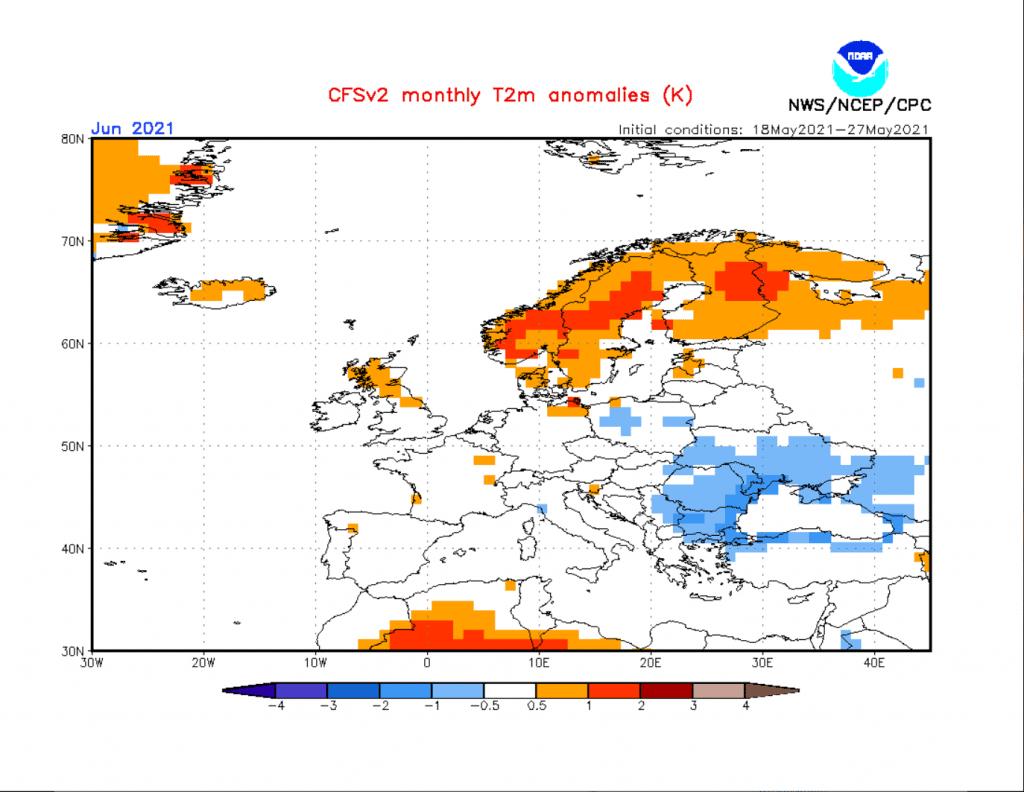 Pogoda. Model CFS dla Europy na czerwiec 2021. Prognozowane odchylenie temperatury.