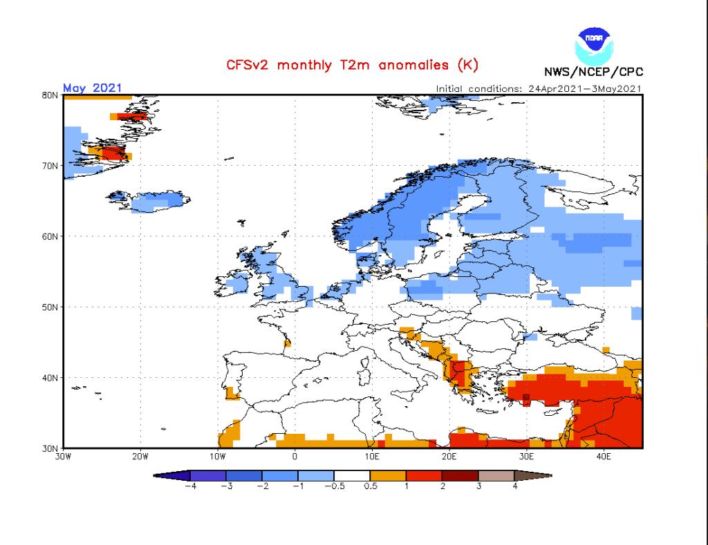 Pogoda. Anomalia temperatury na maj 2021.