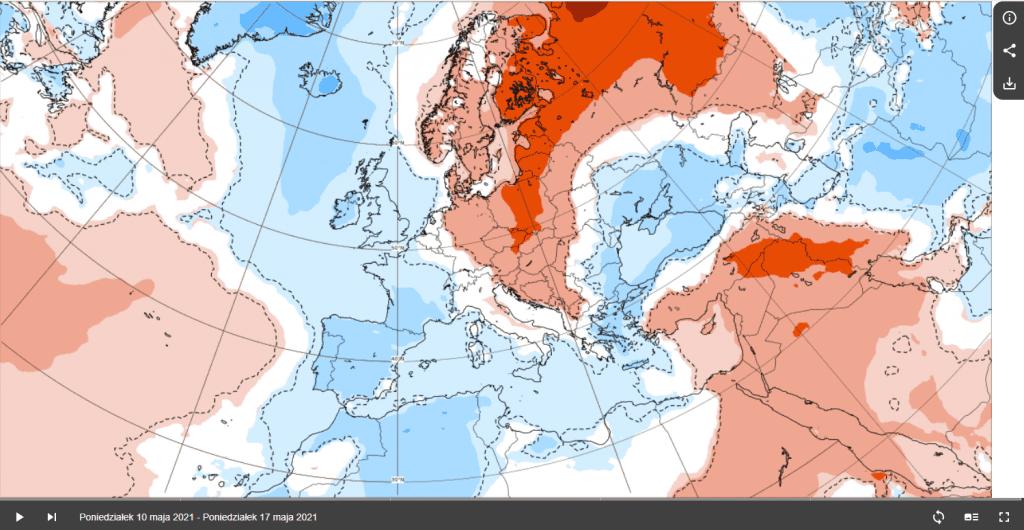 Pogoda. Anomalia do 17 maja 2021.