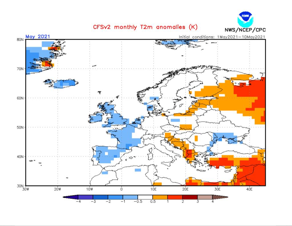 Pogoda. Anomalia temperatury na maj 2021