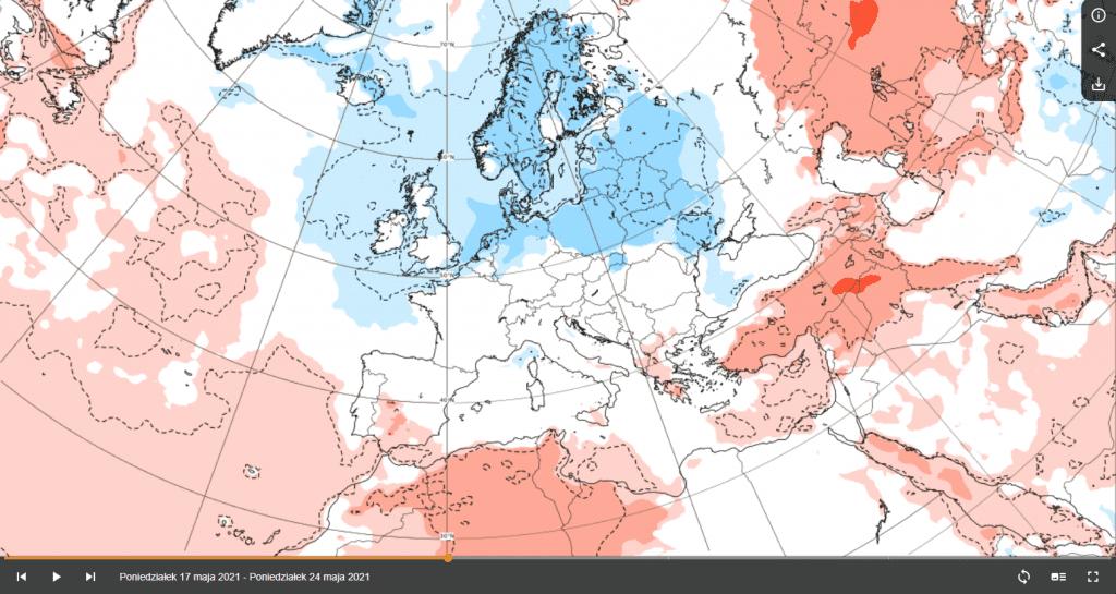 Pogoda. Anomalia temperatury na przełomie 2 i 3 dekady maja 2021.