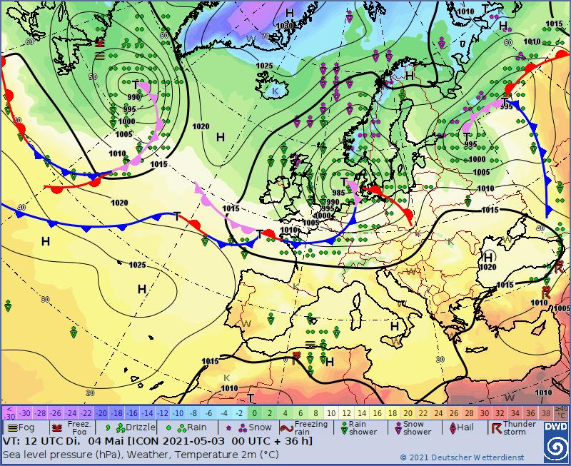 Pogoda 4 maja dla Polski. Mapa synoptyczna Europy