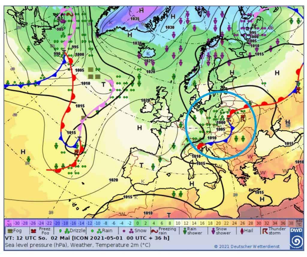 Pogoda na 2 maja. Niż DANIEL i fronty atmosferyczne nad Polską