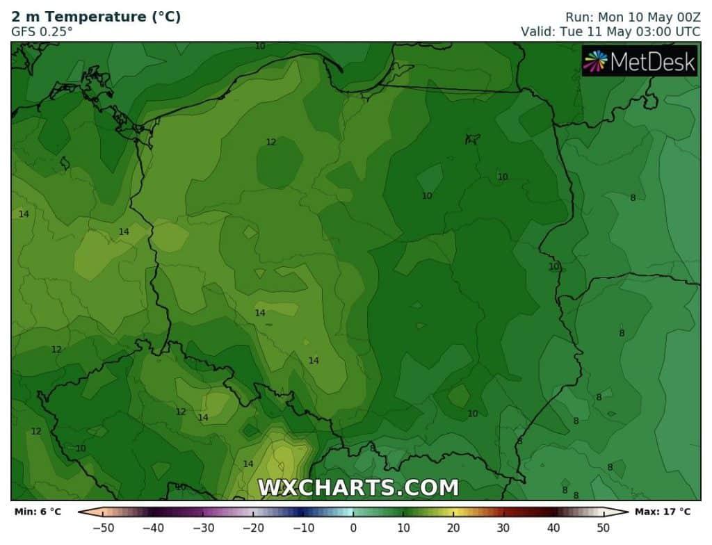Pogoda na noc. Temperatura w Polsce