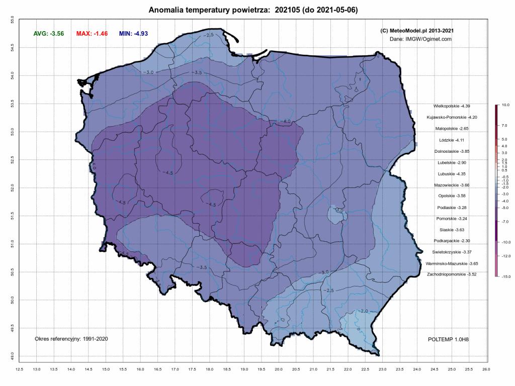 Pogoda. Anomalia temperatury do 6 maja 2021.