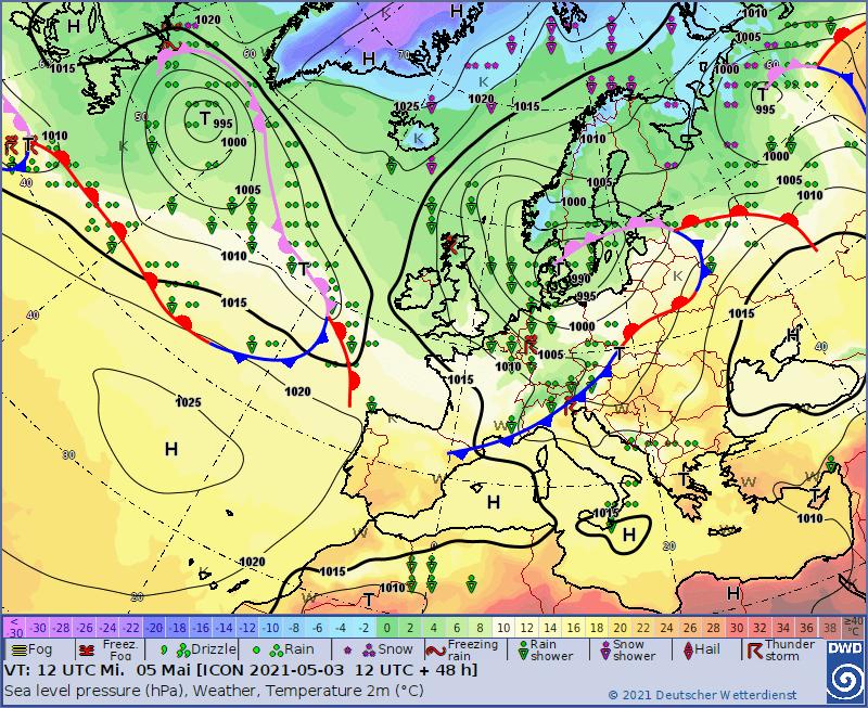 Śnieżyca 5 maja. Sytuacja baryczna w Europie