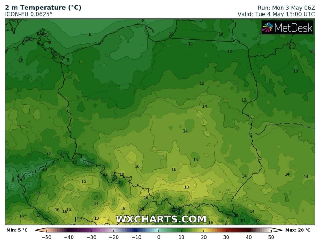 Temperatura w Polsce we wtorek 4 maja