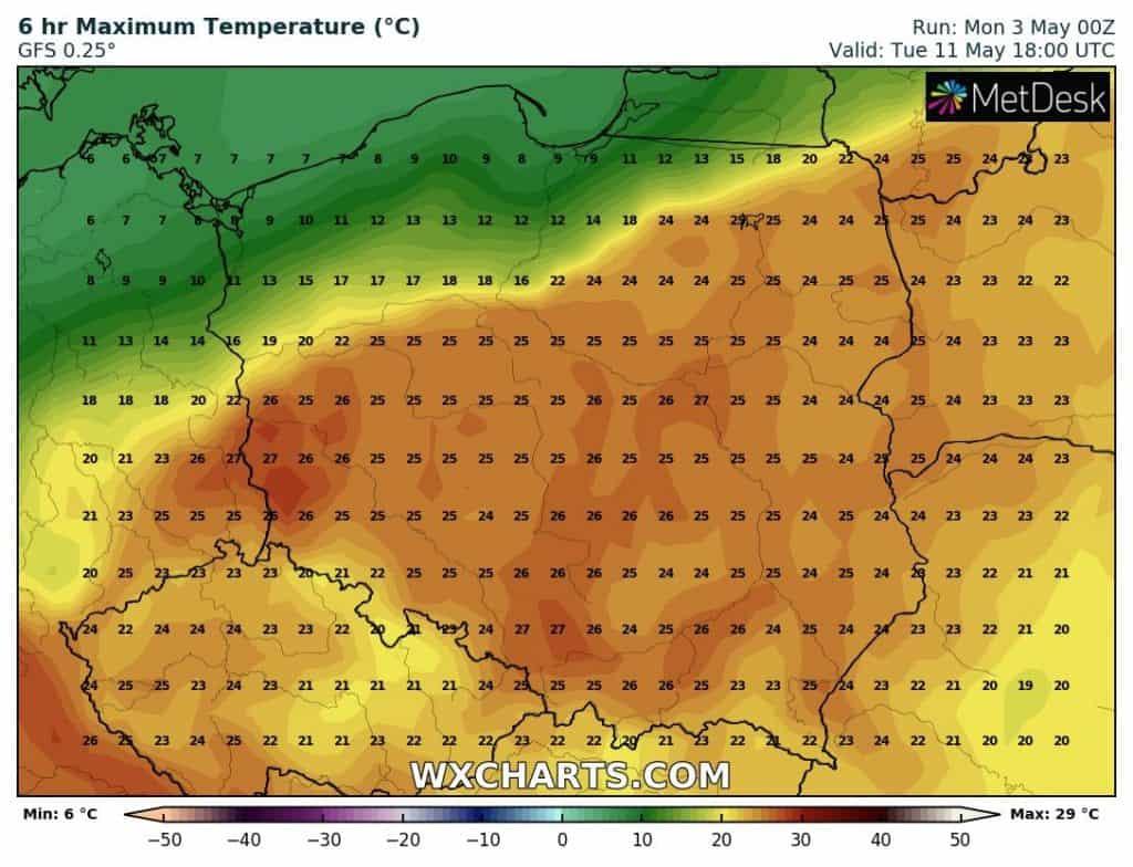 11 maja temperatura wstępnie