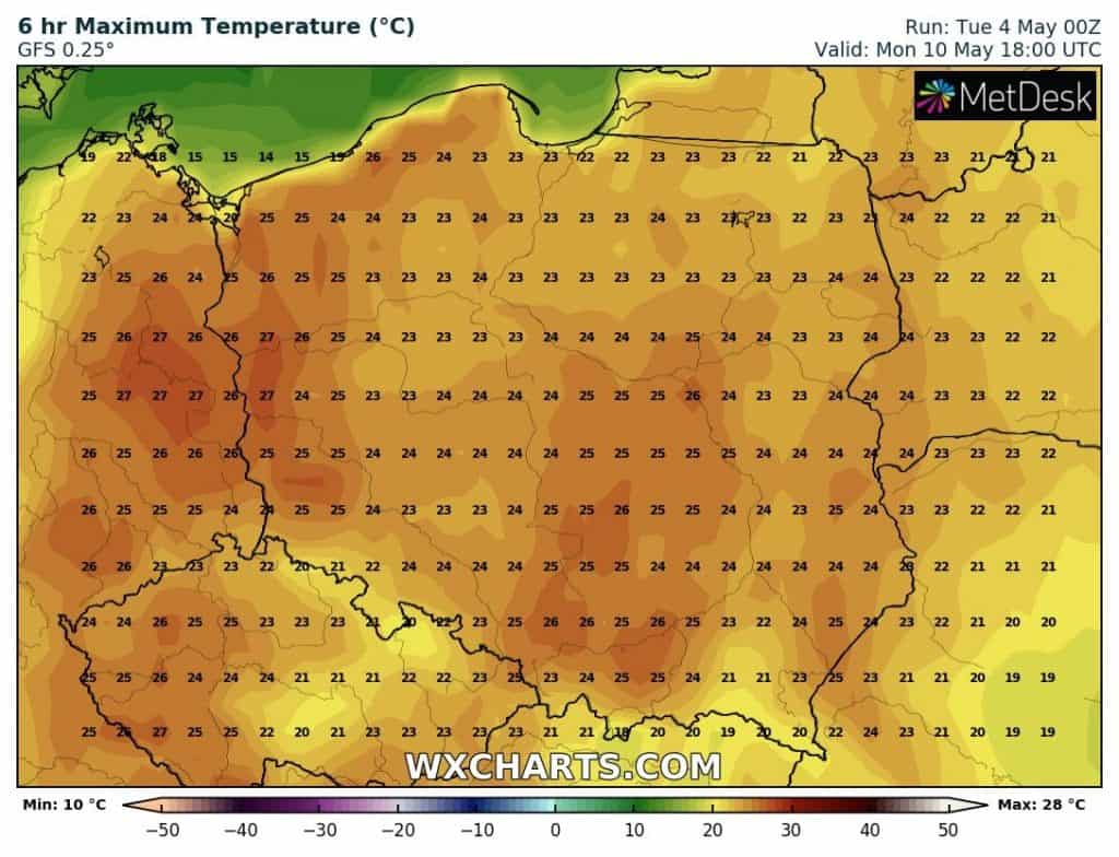 Pogoda. Prognoza temperatury na 10 maja 2021.