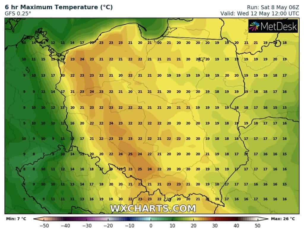 Wysoka temperatura w Polsce