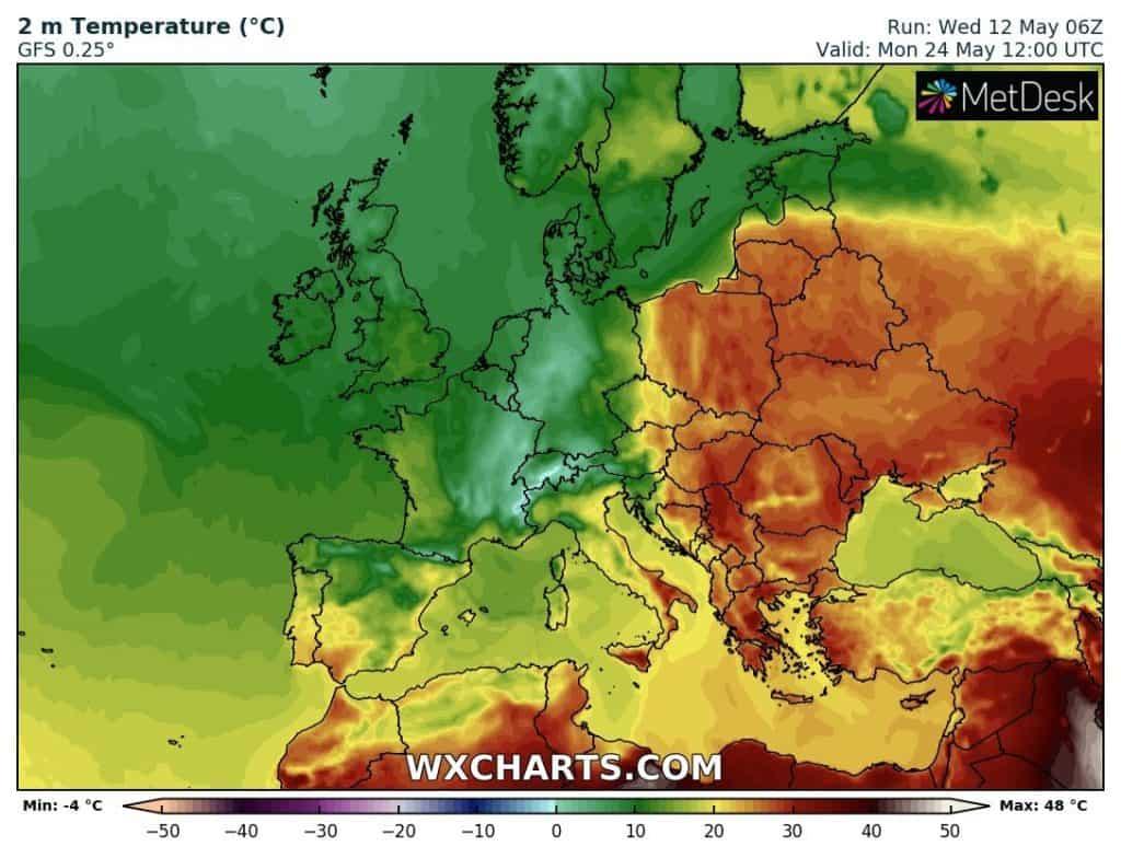 Upał w Europie 24 maja