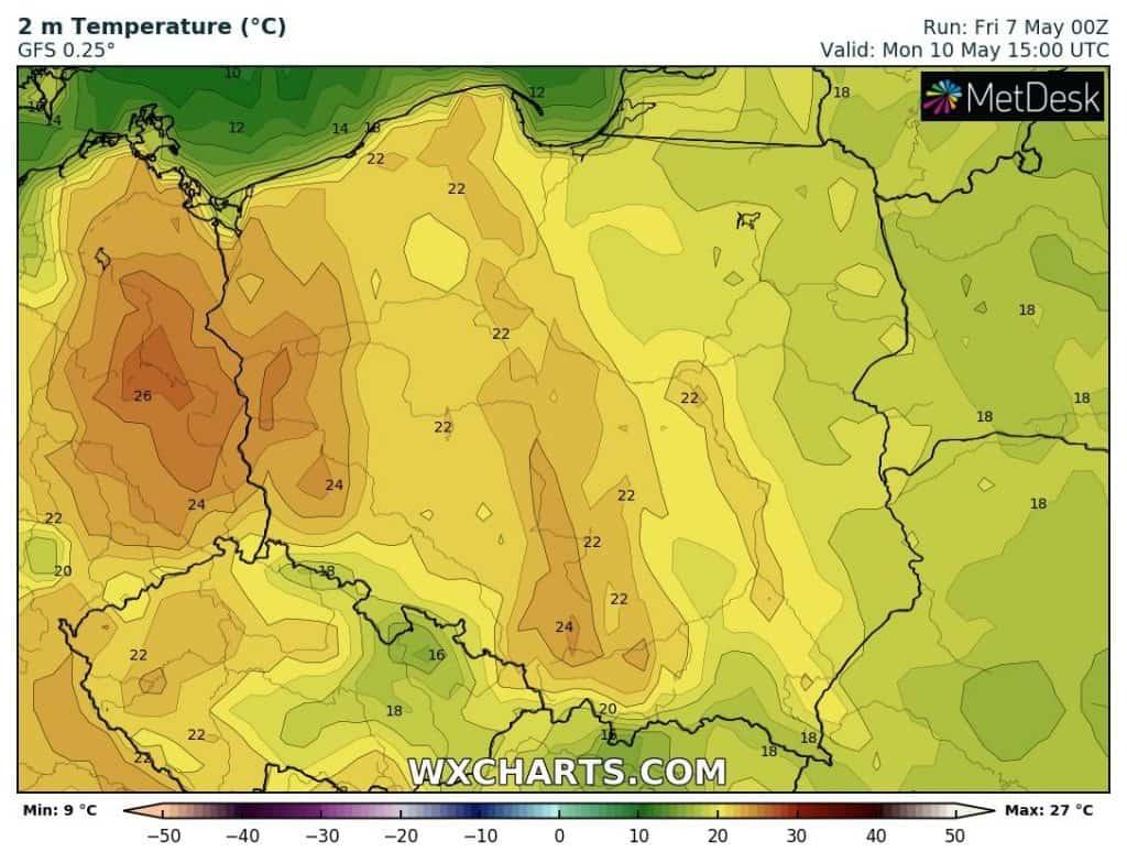 Ciepło nad Polską, ale w poniedziałek jeszcze bez upału