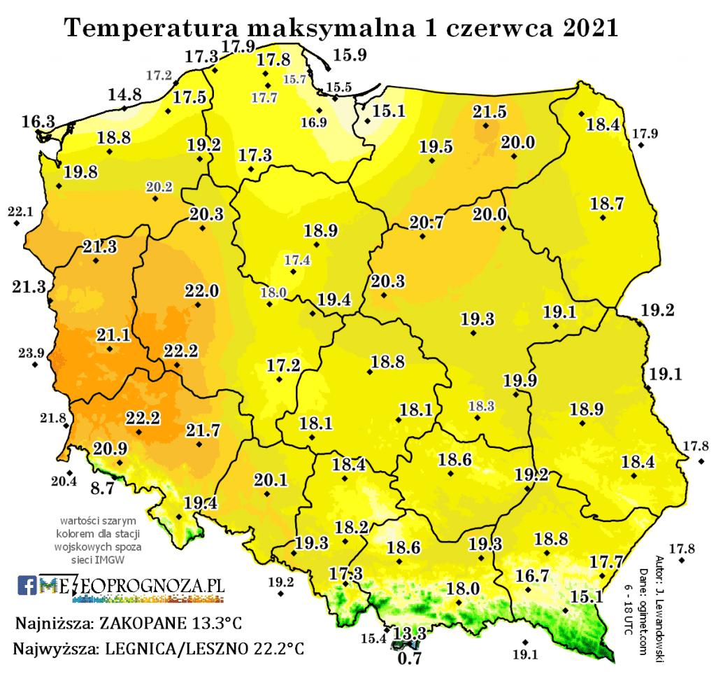 Temperatura 1 czerwca 2021.