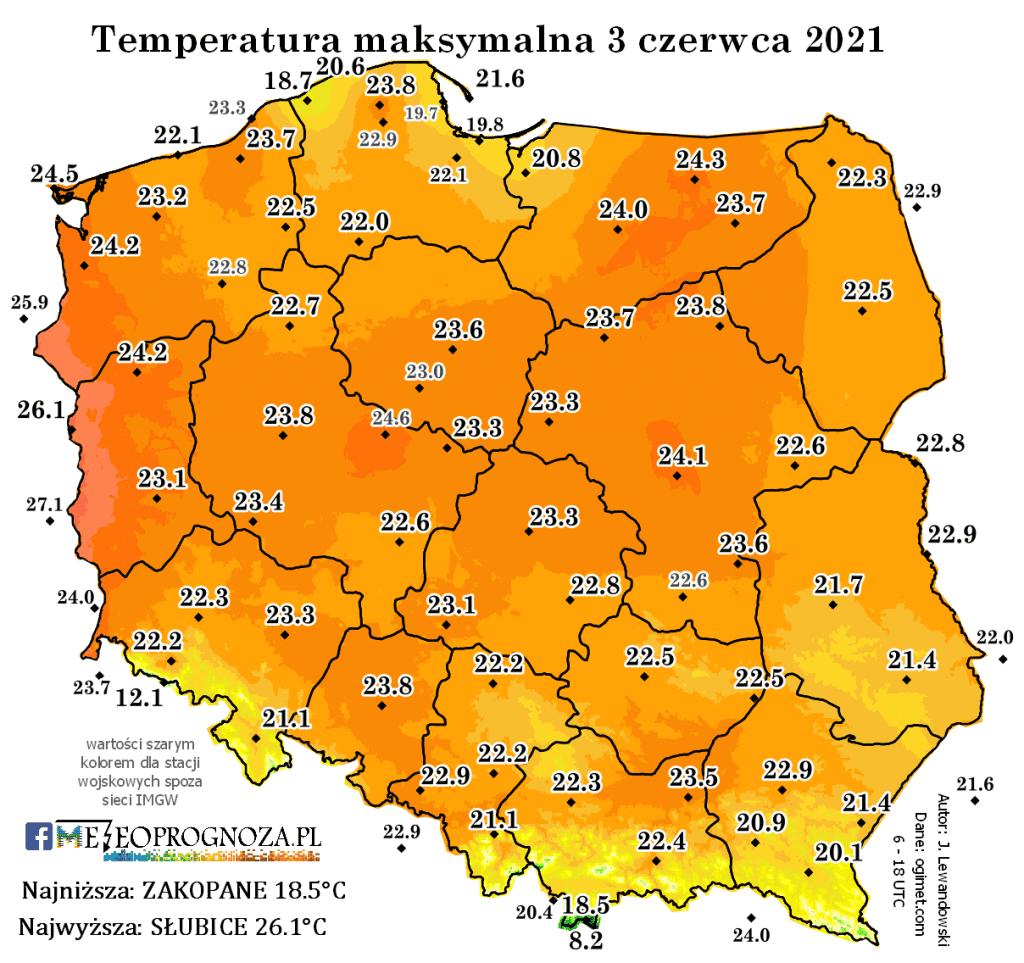 Temperatura 3 czerwca 2021