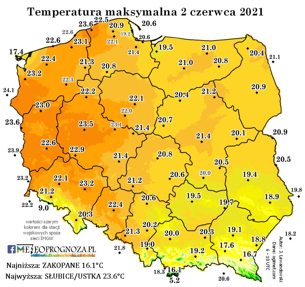 Temperatura 2 czerwca 2021.