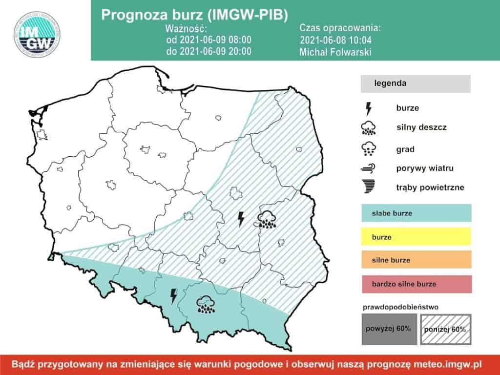 Pogoda. Burze 9 czerwca 2021 IMGW-PIB