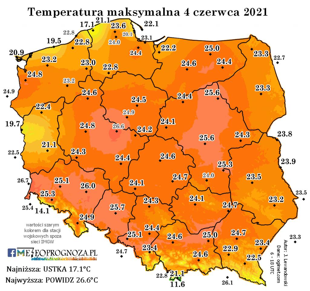 Temperatura maksymalna 4 czerwca 2021.
