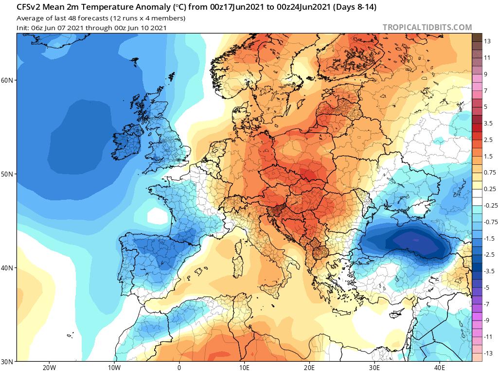 Pogoda. Średnia anomalia na okres od 17.06.2021 do 24.06.2021.
