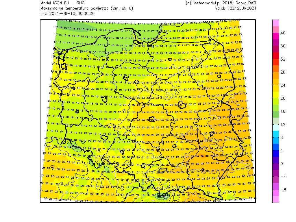 Prognoza temperatury na 12 czerwca 2021.