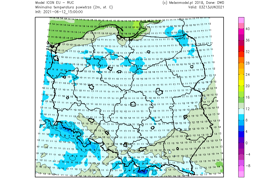 Pogoda. Temperatura minimalna w Polsce