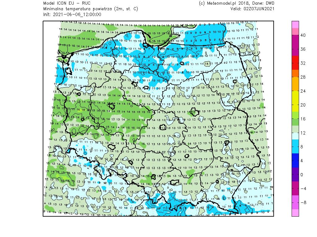 Temperatura minimalna w Polsce