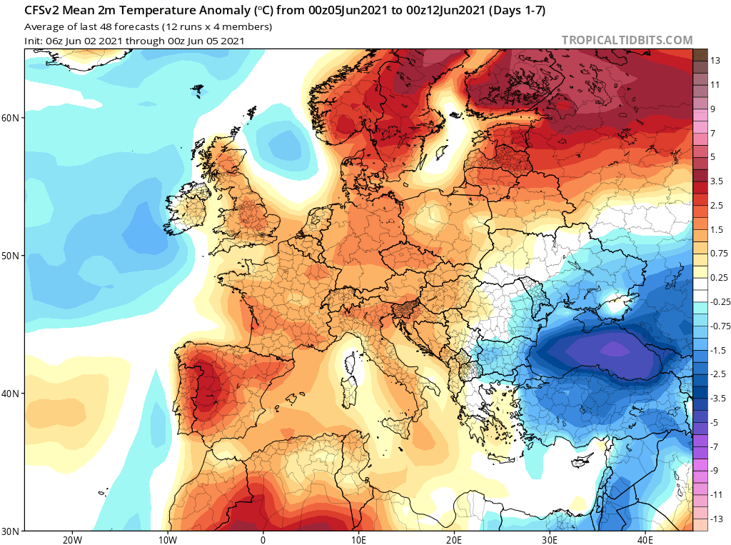 Pogoda. Średnie wartości anomalii do 12 czerwca 2021.