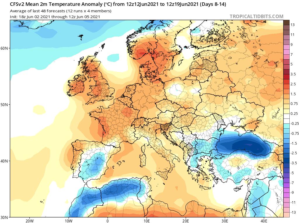 Temperatura do 19 czerwca 2021.