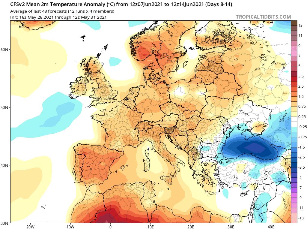 Anomalia temperatury do 14 czerwca 2021.