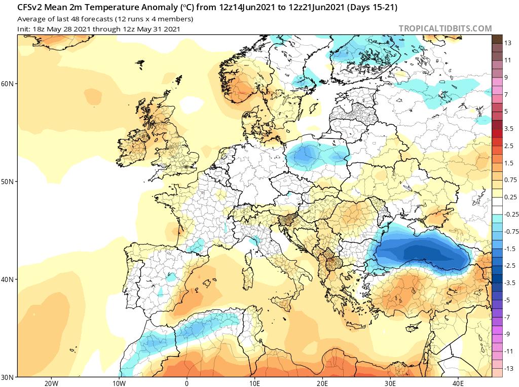 Pogoda. Anomalia temperatury na czerwiec 2021.