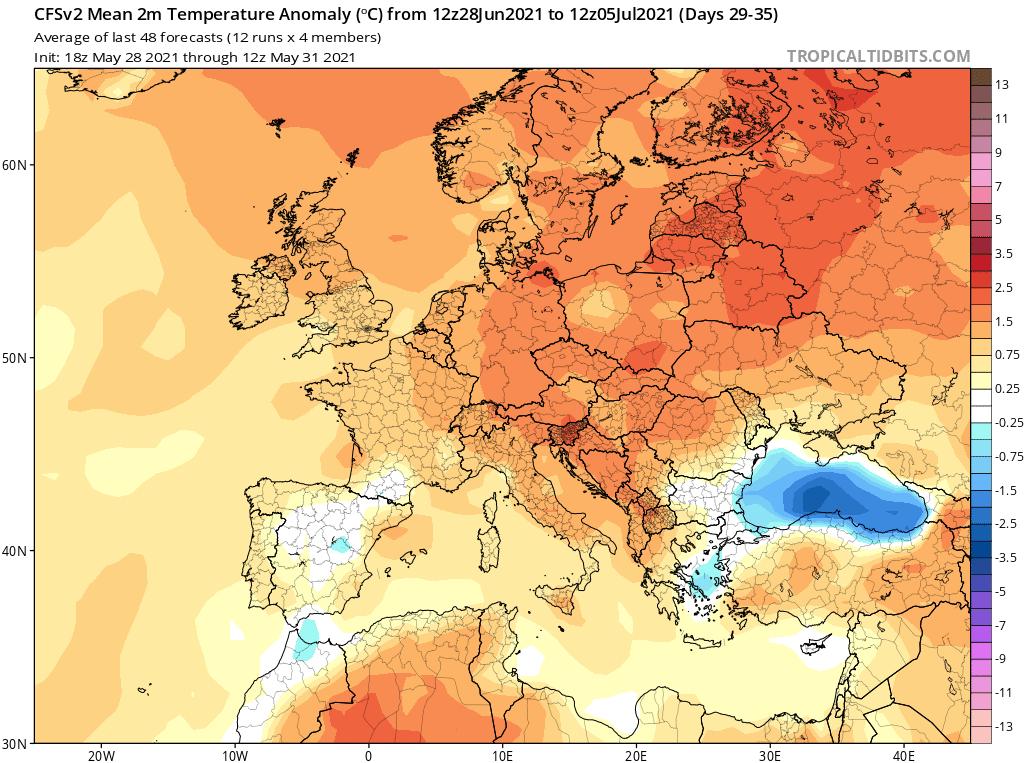 Pogoda. Anomalia temperatury do 5 lipca 2021.
