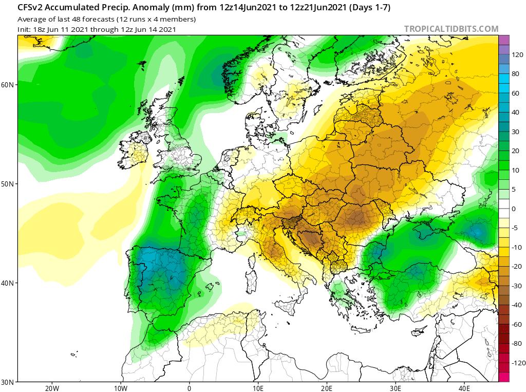 Pogoda. Anomalia opadów w okresie od 14.06.2021 do 21.06.2021