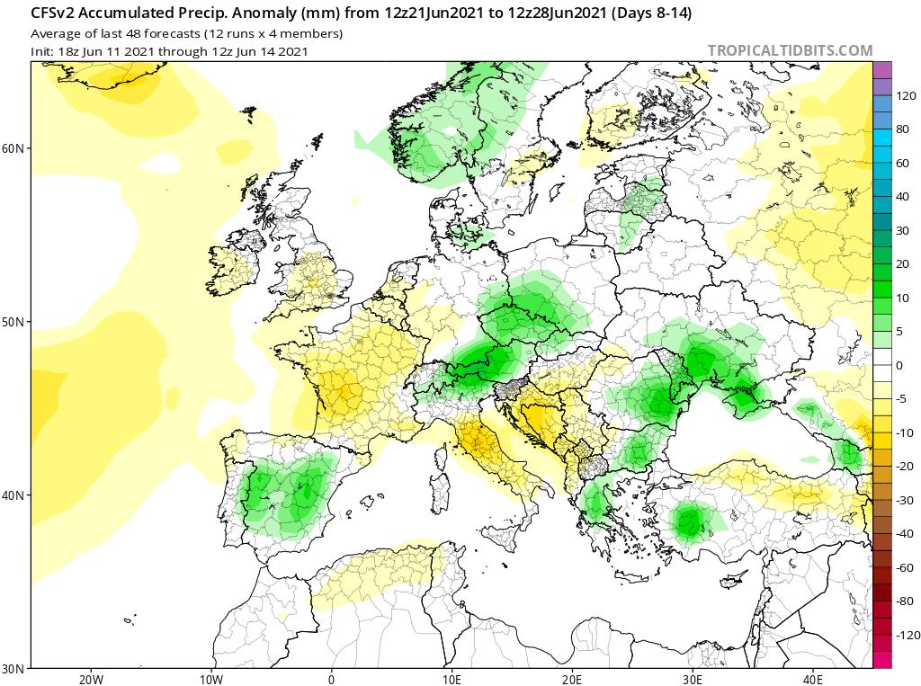 Anomalia opadów do 28 czerwca 2021.