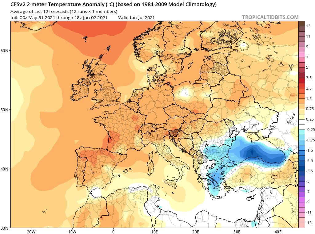 Pogoda. Anomalia miesięczna do lipca 2021.