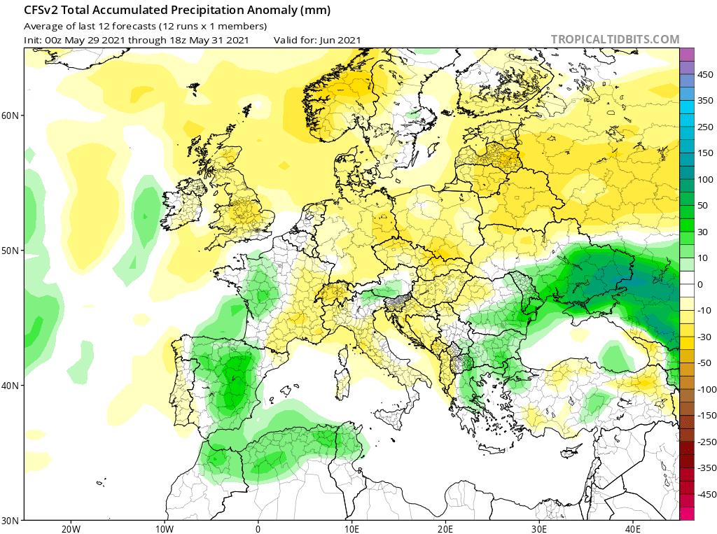 Pogoda długoterminowa na czerwiec 2021. Opady w Europie i Polsce.