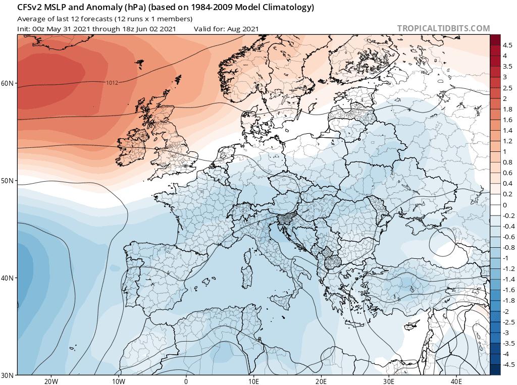 Anomalia miesięczna na sierpień 2021.