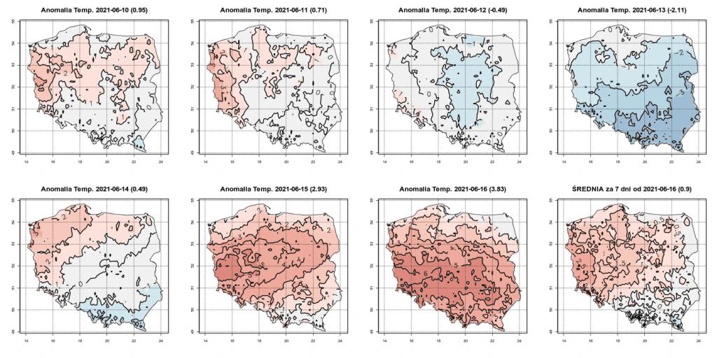 Pogoda. Anomalia temperatury w okresie od 10.06.2021 do 16.06.2021 według ICON.