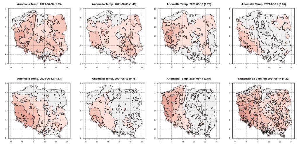 Pogoda. Anomalia temperatury w okresie od 8.06.2021 do 14.06.2021, uwzględniając okres referencyjny 1991-2020.