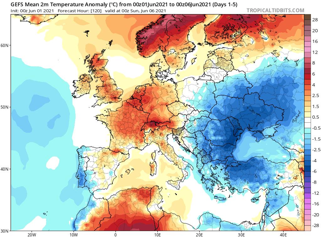 Pogoda. Anomalia temperatury na czerwiec 2021 dla Polski.