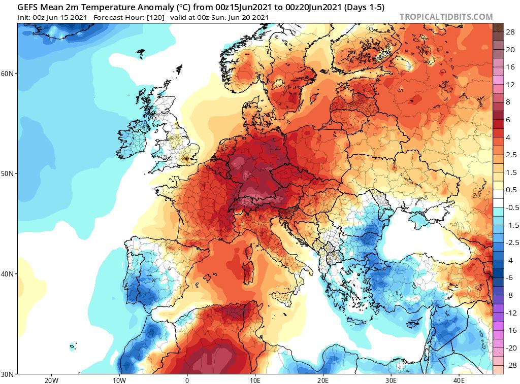 Pogoda. Anomalia średnia w okresie od 15.06.2021 do 20.06.2021