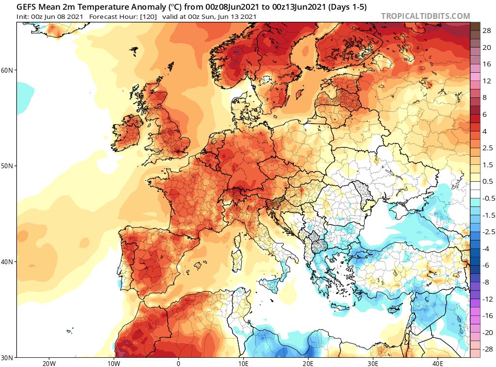 Pogoda. Średnia dobowa na okres od 6.06.2021 do 13.06.2021.