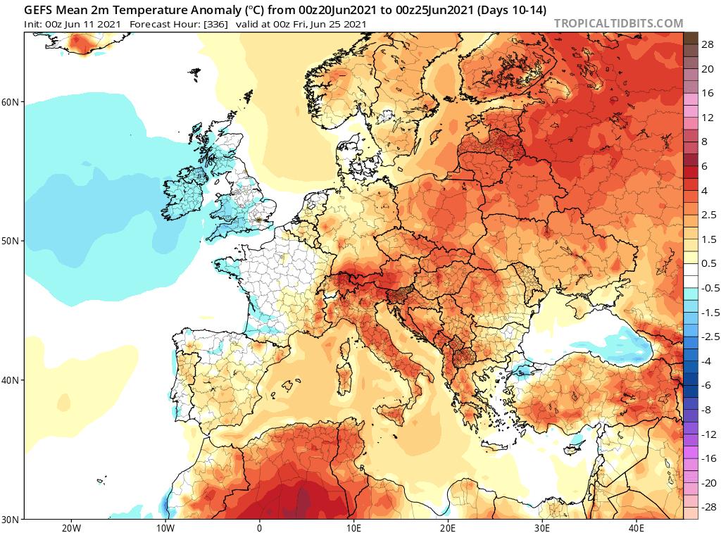 Pogoda. Anomalia temperatury na okres od 20.06.2021 do 25.06.2021.