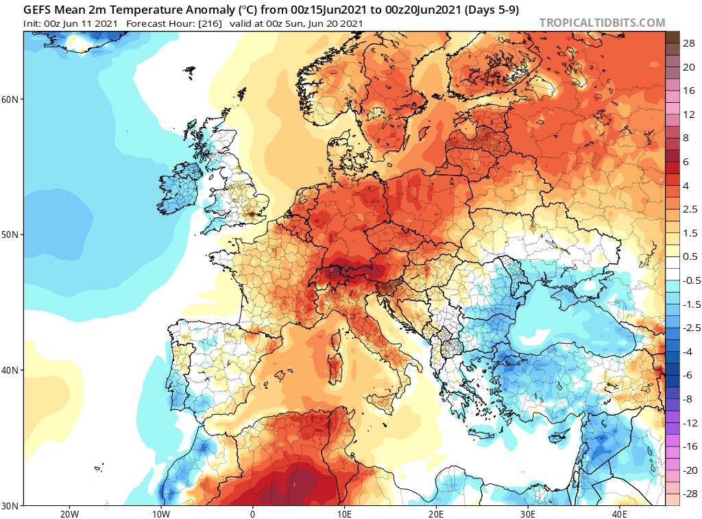Pogoda. Anomalia temperatury na okres od 15.06.2021 do 20.06.2021.