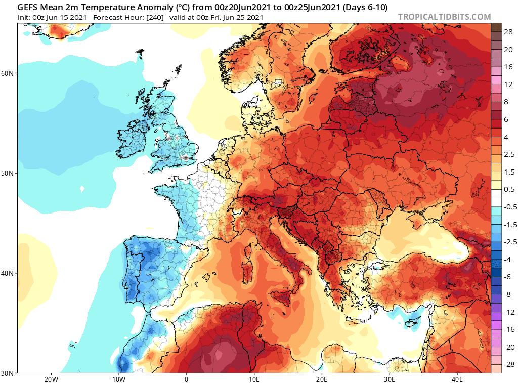 Pogoda. Prognozowane odchylenie temperatury w okresie od 20.06.2021 do 25.06.2021