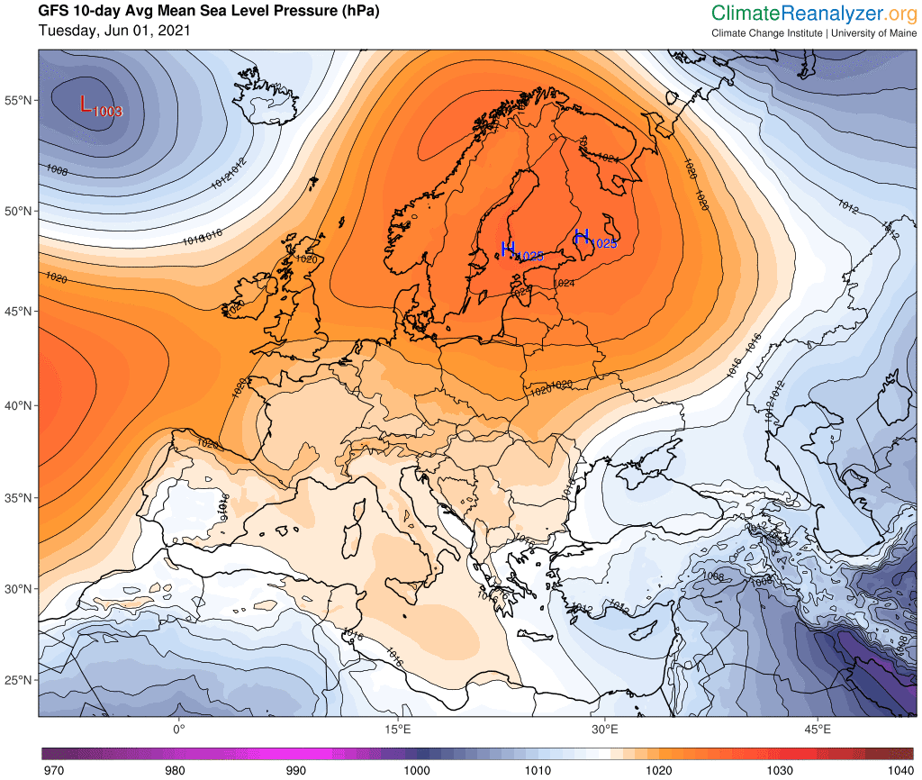 Pogoda. Średnia anomalia na 10 dni.