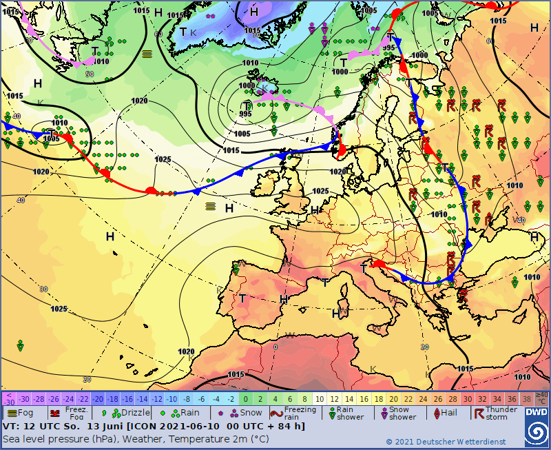 Ciśnienie 13 czerwca i położeniegłównych frontów.