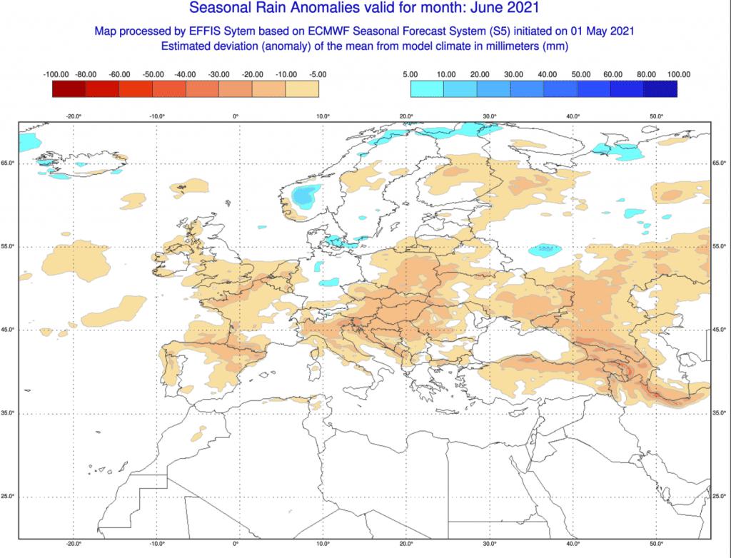 Pogoda. Anomalia opadów na czerwiec 2021